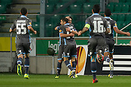 Apollon's Gaston Sangoy celebrates with team mates after scoring during the UEFA Europa League Group J football match between Legia Warsaw and Apollon Limassol FC at Pepsi Arena Stadium in Warsaw on October 03, 2013.<br /> <br /> Poland, Warsaw, October 03, 2013<br /> <br /> Picture also available in RAW (NEF) or TIFF format on special request.<br /> <br /> For editorial use only. Any commercial or promotional use requires permission.<br /> <br /> Mandatory credit:<br /> Photo by © Adam Nurkiewicz / Mediasport