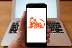Using iPhone smartphone to display logo of ING Bank