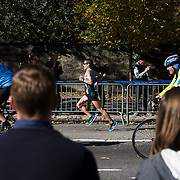 NYTRUN - NOV. 6, 2016 - NEW YORK - A runner heads south along 5th Avenue, just north of E 90th Street as he competes in the 2016 TCS New York City Marathon on Sunday. NYTCREDIT:  Karsten Moran for The New York Times **PLS CHECK FINISH PLACE AND TIMES