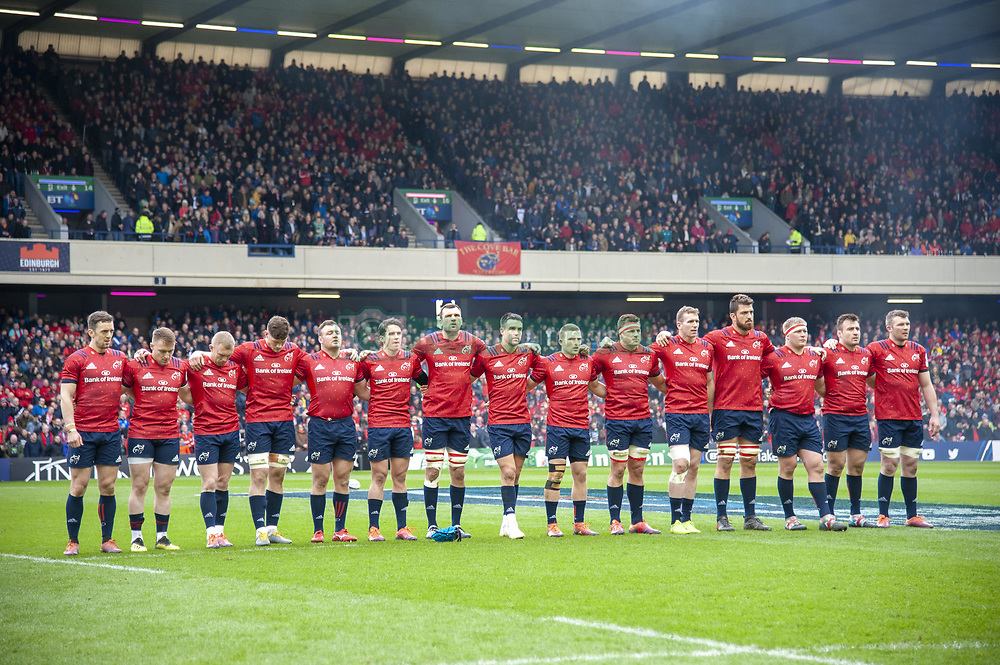 March 30, 2019 - Edinburgh, Scotland, United Kingdom - The Munster players during a minutes of silence during the Heineken Champions Cup Quarter Final match between Edinburgh Rugby and Munster Rugby at Murrayfield Stadium in Edinburgh, Scotland, United Kingdom on March 30, 2019  (Credit Image: © Andrew Surma/NurPhoto via ZUMA Press)