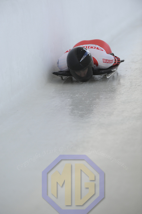 27 February 2007:  Amy Gough of Canada in the 3rd run at the Women's Skeleton World Championships competition on February 27 at the Olympic Sports Complex in Lake Placid, NY.