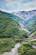 A train passes through the mountainous landscape along the Alaskan Railway transporting tourists from Denali National Park north to Fairbanks.