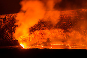 Lava eruption in the Halemaumau Crater, Hawaii Volcanoes National Park, Hawaii USA
