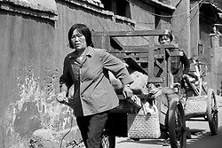 China, Beijing, 2003. Looking much as they did during the Cultural Revolution, women actively participate in the recycling of virtually everything on Beijing streets..