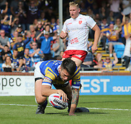 Tom Briscoe of Leeds Rhinos  dives over to score the try against Hull Kingston Rovers during the Super 8s the Qualifiers match at Emerald Headingley  Stadium, Leeds<br /> Picture by Stephen Gaunt/Focus Images Ltd +447904 833202<br /> 01/09/2018
