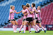 Sophie Howard (#15) of Scotland celebrates Scotland's third goal (3-0) with Scotland team mates during the International Friendly match between Scotland Women and Jamaica Women at Hampden Park, Glasgow, United Kingdom on 28 May 2019.