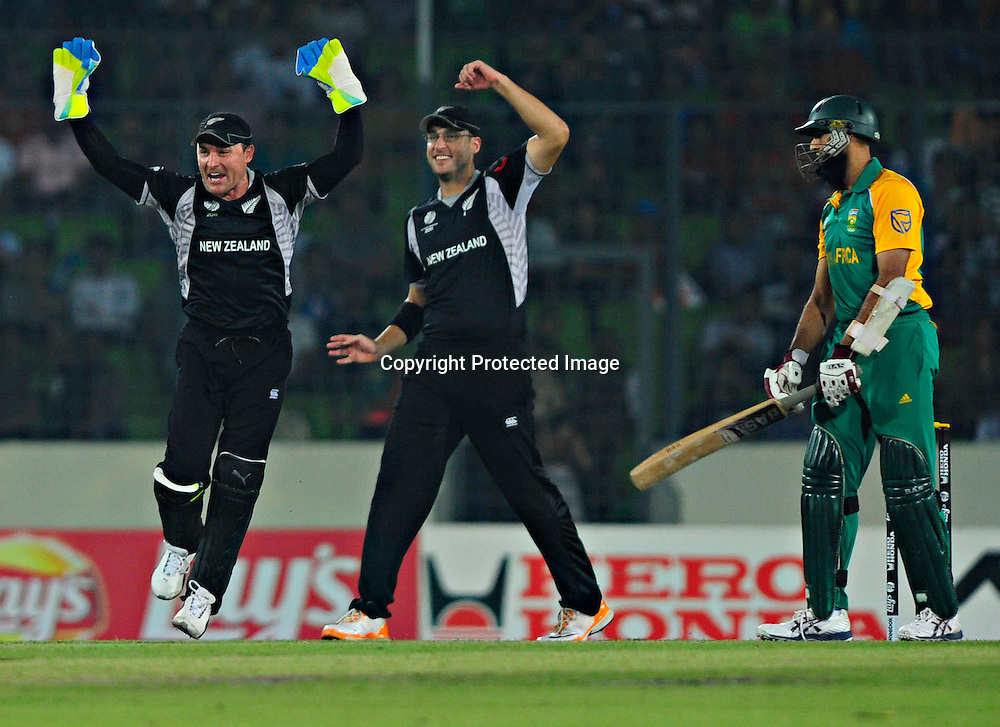 Brendan McCullam celebrates the wicket of Hashim Amla during the ICC Cricket World Cup quarter final match between South Africa and New Zealand held at the Shere Bangla National Stadium, Mirpur, Bangladesh on the 25 March 2011..Photo by SPORTZPICS