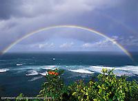 Full rainbow over Hideaways Beach, Princeville