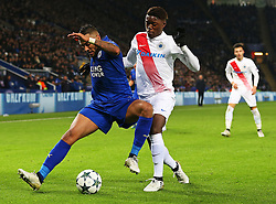 Danny Simpson of Leicester City battles with Jose Izquierdo of Club Brugge- Mandatory by-line: Matt McNulty/JMP - 22/11/2016 - FOOTBALL - King Power Stadium - Leicester, England - Leicester City v Club Brugge - UEFA Champions League