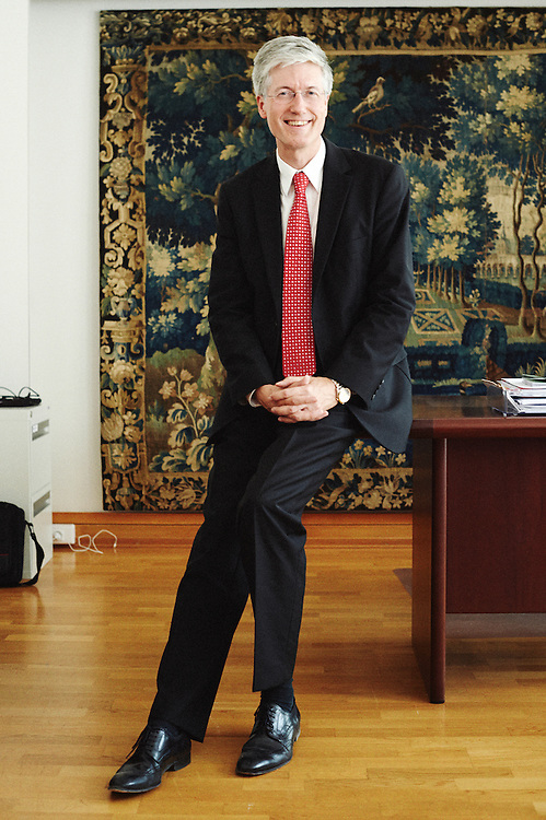 Paris, France. September 17, 2014. Rolf Einar Fife, the Norwegian ambassador to France, posing in his office. Photo : Antoine Doyen