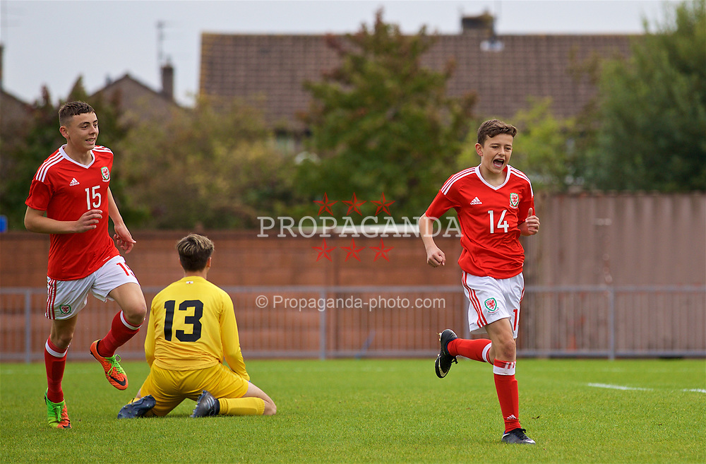 NEWPORT, WALES - Sunday, September 24, 2017: Wales' Owen Beck celebrates scoring the second goal during an Under-16 International friendly match between Wales and Gibraltar at the Newport Stadium. (Pic by David Rawcliffe/Propaganda)