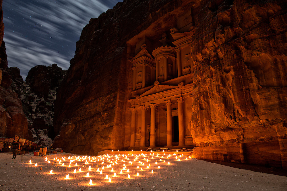 "The Treasury of Petra lit by candlelight, ""Petra by Night."""