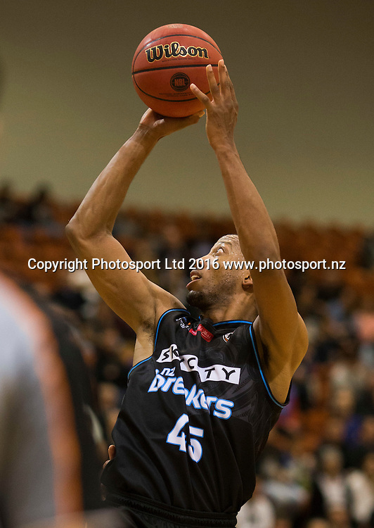Breaker's Akil Mitchell puts up a shot. NBL Preseason basketball, NZ Breakers v Brisbane Bullets, PG Arena, Napier, New Zealand. Thursday 16 September, 2016. Copyright photo: John Cowpland / www.photosport.nz