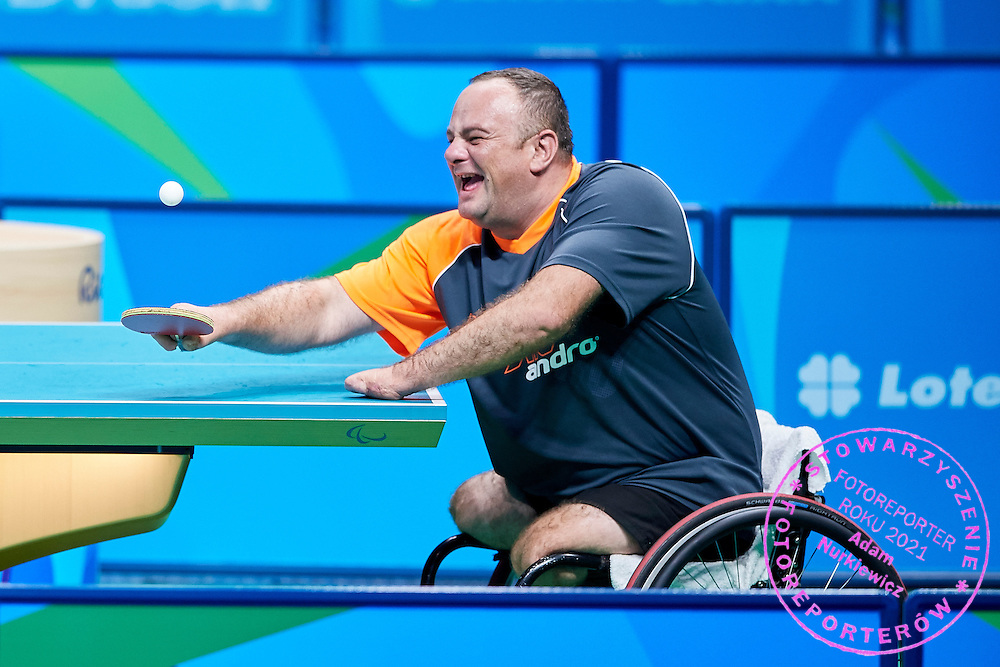 Rio de Janeiro, Brazil - 2016 September 03: Rafal Lis from Poland plays during table tennis training session in Riocentro Pavilion 3 while 2016 Summer Paralympic Games on September 03, 2016 in Rio de Janeiro, Brazil.<br /> Rio 2016 Paralympic Games will be held from September 7 until 18.<br /> <br /> Adam Nurkiewicz declares that he has no rights to the image of people at the photographs of his authorship.<br /> <br /> Picture also available in RAW (NEF) or TIFF format on special request.<br /> <br /> Any editorial, commercial or promotional use requires written permission from the author of image.<br /> <br /> Mandatory credit:<br /> Photo by &copy; Adam Nurkiewicz / Mediasport