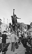 London, Great Britain,   Supporters, mass round the statues out side the stadium. 2015 Rugby World Cup Final. New Zealand vs Australia,, Twickenham Stadium,London. England,, Saturday  31/10/2015. <br /> [Mandatory Credit; Peter Spurrier/Intersport-images] Black and White Film, Kodak Tri-X [rated 320 ASA], Camera Contax G2 with Ziess 28mm f2.0.