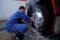 Nobuyuki thoroughly washes his truck a few hours after leaving Tokyo for Sapporo.