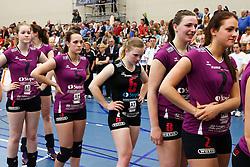 20150425 NED: Eredivisie VC Sneek - Eurosped, Sneek<br />Teleurstelling bij de speelsters van Eurosped<br />©2015-FotoHoogendoorn.nl / Pim Waslander