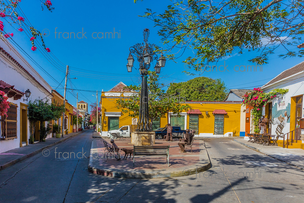 Cartagena , Colombia  - March 5, 2017 : Colorful streets of Getsemani<br /> area of Cartagena de los indias Bolivar in Colombia South America