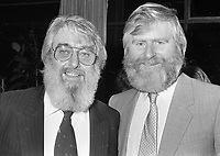 Ronnie Drew and John Sheahan of The Dubliners at the reception in Guinness Storehouse to launch the film The Dubliner's Dublin, circa October 1988 (Part of the Independent Newspapers Ireland/NLI Collection).