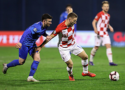 Zagreb, March 21, 2019  Nikola Vlasic (R) of Croatia and Gara Garayev of Azerbaijan during the UEFA Euro 2020 group E qualifying match between Croatia and Azerbaijan at the Maksimir stadium in Zagreb, Croatia, on March 21, 2019. Croatia won 2:1. (Credit Image: © Jurica Galoic/Pixsell/Xinhua via ZUMA Wire)