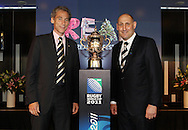 IRB CEO Mike Miller and RNZ Chariman Jock Hobbs (L-R) pose with the Webb Ellis Cup during the One Year To Go media session. Countdown to the 2011 Rugby World Cup, Eden Park, Auckland, Thursday 9 September 2010. Photo: Andrew Cornaga/PHOTOSPORT