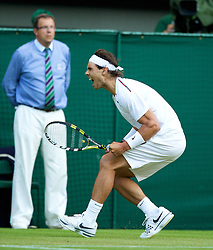 LONDON, ENGLAND - Thursday, June 28, 2012: Rafael Nadal (ESP) celebrates winning a game during the Gentlemen's Singles 2nd Round  match on day four of the Wimbledon Lawn Tennis Championships at the All England Lawn Tennis and Croquet Club. (Pic by David Rawcliffe/Propaganda)