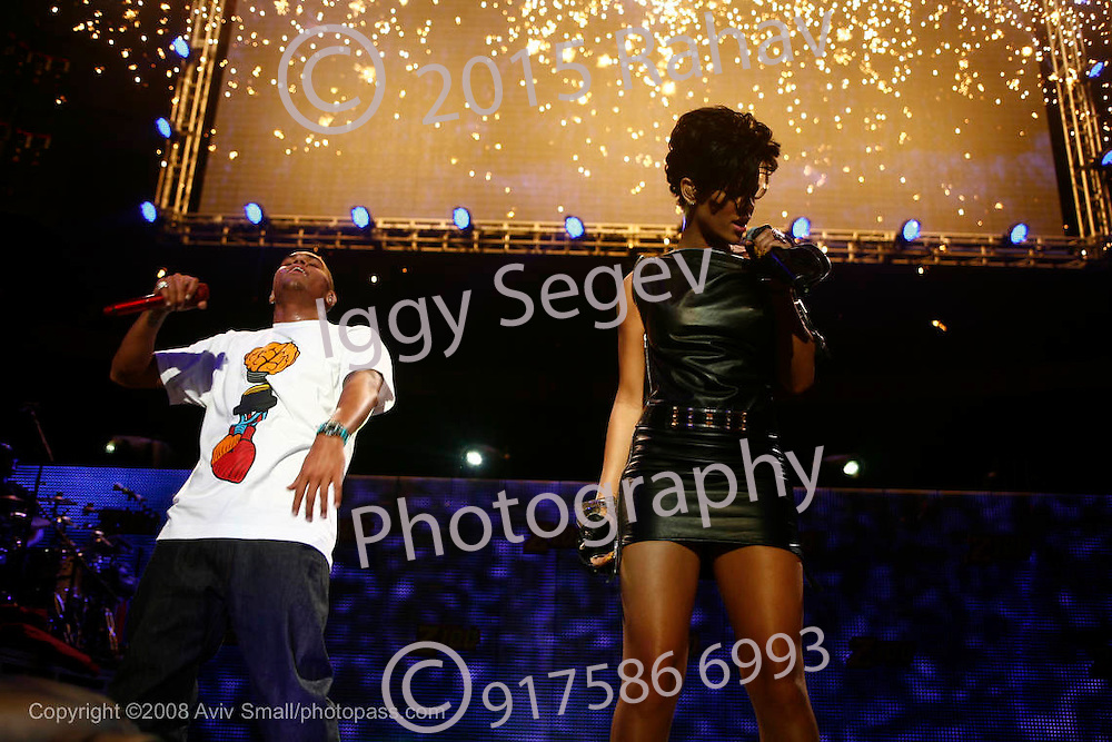 Rihanna and Chris Brown performing at Z100's Jingle Ball 2008 at Madison Square Garden on December 12, 2008. ..