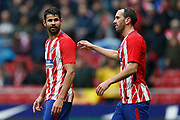 Atletico Madrid's Spanish forward Diego Costa celebrates after scoring during the Spanish Championship Liga football match between Atletico Madrid and Getafe on January 6, 2018 at the Wanda Metropolitano stadium in Madrid, Spain - Photo Benjamin Cremel / ProSportsImages / DPPI
