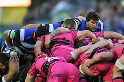Nathan Catt of Bath Rugby looks on at a scrum - Photo mandatory by-line: Patrick Khachfe/JMP - Mobile: 07966 386802 01/11/2014 - SPORT - RUGBY UNION - Bath - The Recreation Ground - Bath Rugby v London Welsh - LV= Cup