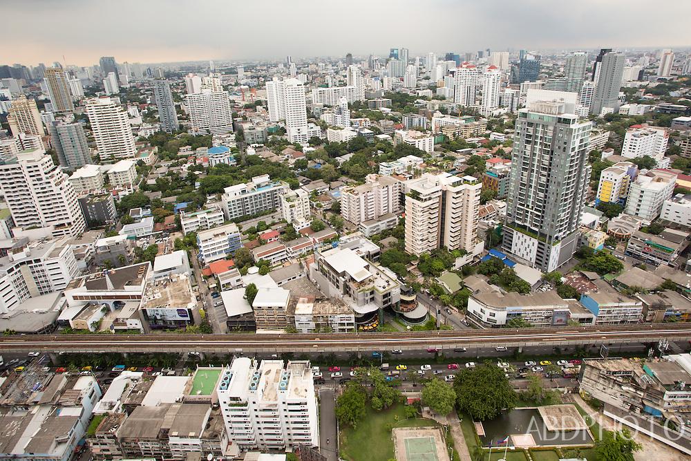 city view sky train in Bangkok Thailand