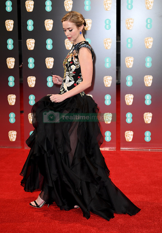 Emily Blunt attending the EE British Academy Film Awards held at the Royal Albert Hall, Kensington Gore, Kensington, London. Picture date: Sunday February 12, 2017. Photo credit should read: Doug Peters/ EMPICS Entertainment