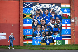 "A general view of a pedestrian walking past a Leicester City mural prior to the Premier League match at the King Power Stadium, Leicester. PRESS ASSOCIATION Photo. Picture date: Saturday January 12, 2019. See PA story SOCCER Leicester. Photo credit should read: Mike Egerton/PA Wire. RESTRICTIONS: EDITORIAL USE ONLY No use with unauthorised audio, video, data, fixture lists, club/league logos or ""live"" services. Online in-match use limited to 120 images, no video emulation. No use in betting, games or single club/league/player publications."