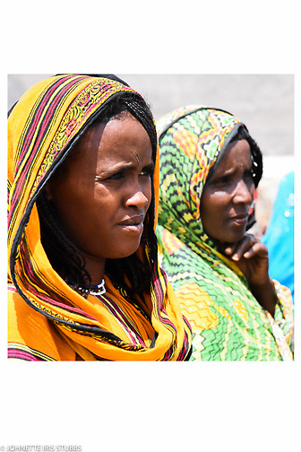 Young women explain the cooperative in the Asaita Refugee Camp, Afar, Ethiopia 2016