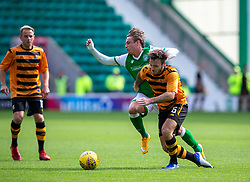 Hibernian's Scott Allan and Alloa Athletic's Steven Hetherington. Hibernian 2 v 0 Alloa Athletic, Betfred Cup game played Saturday 20th July at Easter Road, Edinburgh.