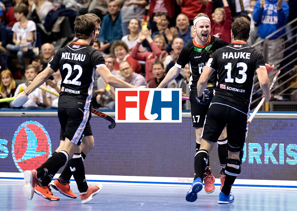 BERLIN - Indoor Hockey World Cup<br /> Semi-final 1: Germany - Iran<br /> foto: Christopher R&uuml;hr scored the penalty stroke.<br /> WORLDSPORTPICS COPYRIGHT FRANK UIJLENBROEK