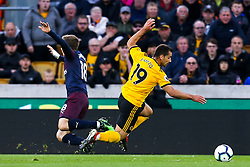 Jonny of Wolverhampton Wanderers is fouled by Nacho Monreal of Arsenal leading to Ruben Neves of Wolverhampton Wanderers scoring a goal to make it 1-0 - Mandatory by-line: Robbie Stephenson/JMP - 24/04/2019 - FOOTBALL - Molineux - Wolverhampton, England - Wolverhampton Wanderers v Arsenal - Premier League