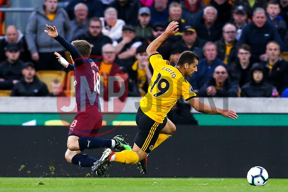 Jonny of Wolverhampton Wanderers is fouled by Nacho Monreal of Arsenal leading to Ruben Neves of Wolverhampton Wanderers scoring a goal to make it 1-0 - Mandatory by-line: Robbie Stephenson/JMP - 24/04/2019 - FOOTBALL - Molineux - Wolverhampton, England - Wolverhampton Wanderers v Arsenal - Premier League
