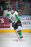 KELOWNA, CANADA - DECEMBER 6: Dylan Stewart #26 of Prince Albert Raiders skates with the puck during warm up against the Kelowna Rockets on December 6, 2014 at Prospera Place in Kelowna, British Columbia, Canada.  (Photo by Marissa Baecker/Shoot the Breeze)  *** Local Caption *** Dylan Stewart;