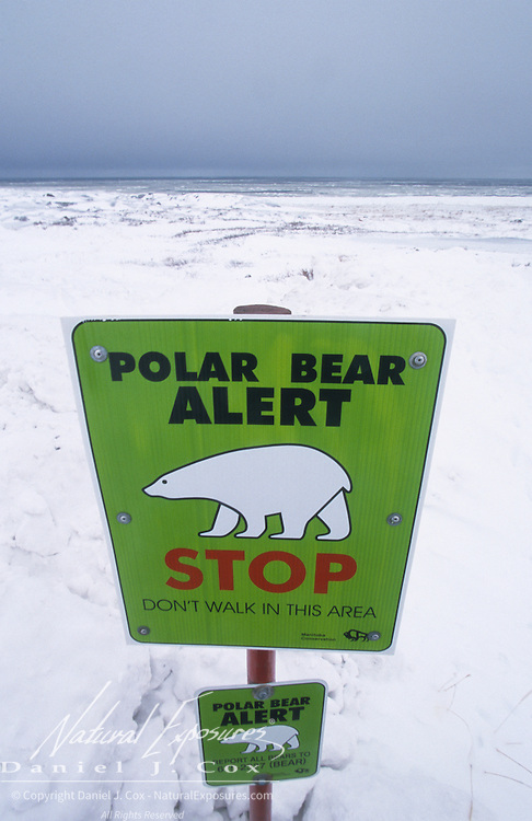 A polar bear warning sign outside the city limits of Churchill, Manitoba, Canada.