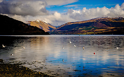Spring sunshine across Loch Fyne, from the town of Inveraray, Argyle and Bute, Scotland<br /> <br /> (c) Andrew Wilson | Edinburgh Elite media