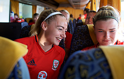 ASTANA, KAZAKHSTAN - Saturday, September 16, 2017: Wales' Charlie Estcourt on the coach after training at the Astana Arena ahead of the FIFA Women's World Cup 2019 Qualifying Round Group 1 match against Kazakhstan. (Pic by David Rawcliffe/Propaganda)