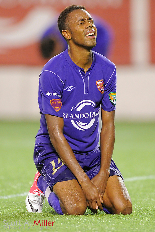 Orlando City forward Dennis Chin (15) reacts to the Lions 4-3 USL-Pro playoff loss to the Wilmington Hammerheads at the Florida Citrus Bowl on August 31, 2012 in Orlando, Florida. ..©2012 Scott A. Miller.