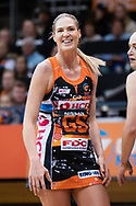 SYDNEY, NSW - JUNE 22: Caitlin Bassett of the Giants smiles during the round 9 Super Netball match between the Giants and the Vixens at Quaycentre on June 22, 2019 in Sydney, Australia. (Photo by Speed Media/Icon Sportswire)