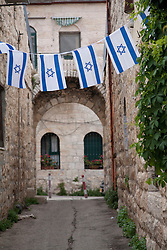 Middle East, Israel, Jerusalem, Israeli flags in alley