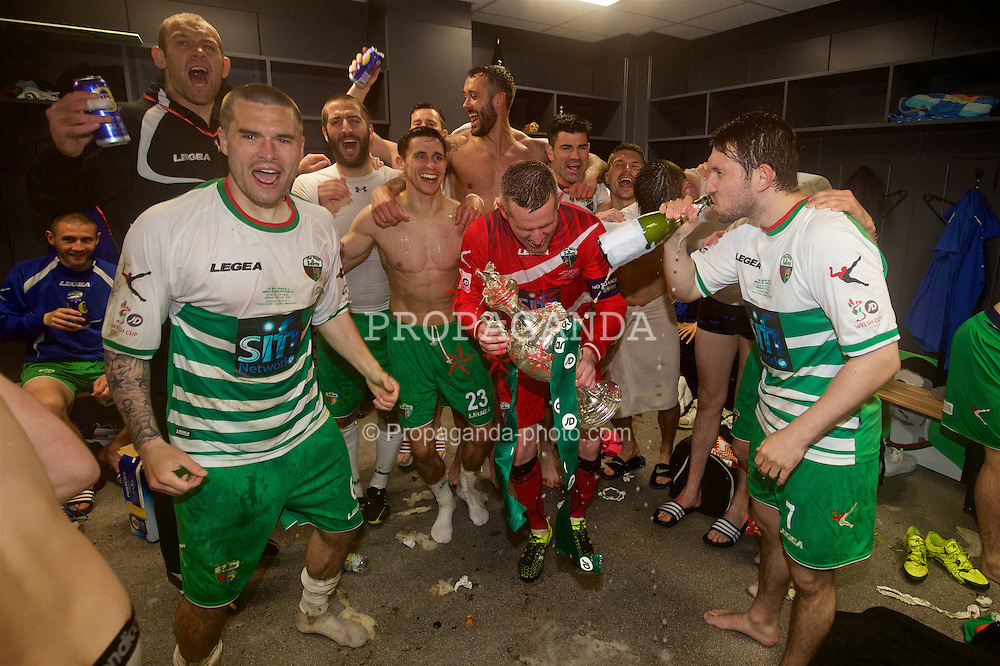 WREXHAM, WALES - Monday, May 2, 2016: The New Saints' captain goalkeeper Paul Harrison celebrates with his team-mates after the 2-0 victory over Airbus UK Broughton during the 129th Welsh Cup Final at the Racecourse Ground. Steve Evans, Kai Edwards, Phil Baker, Aaron Edwards, goalkeeper Paul Harrison, Ryan Brobbel, Christian Sergeant. (Pic by David Rawcliffe/Propaganda)