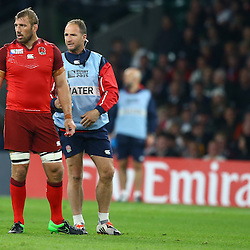 LONDON, ENGLAND - SEPTEMBER 18: Chris Robshaw of England with Mike Catt (Backs Coach) of England during the Rugby World Cup 2015 Pool A match between England and Fiji at Twickenham Stadium on September 18, 2015 in London, England.  (Photo by Steve Haag Emirates)