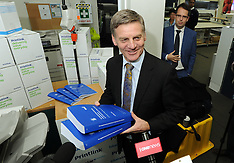 Wellington-Finance Minister checks Budget at printers