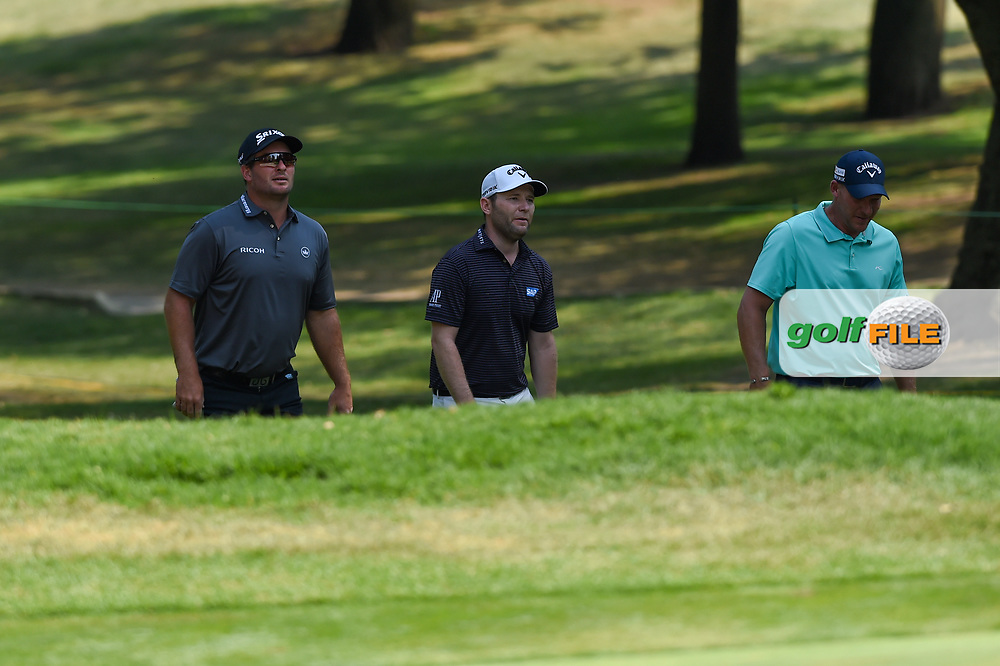 Rickie Fowler (USA), Brandon Grace (RSA), and Shaun Norris (RSA) approach the green on 3 during Rd4 of the World Golf Championships, Mexico, Club De Golf Chapultepec, Mexico City, Mexico. 2/23/2020.<br /> Picture: Golffile   Ken Murray<br /> <br /> <br /> All photo usage must carry mandatory copyright credit (© Golffile   Ken Murray)