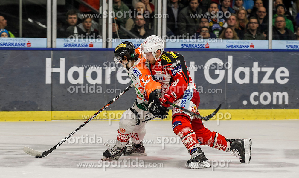 27.02.2015, Eisstadion Liebenau, Graz, AUT, EBEL, Moser Medical Graz 99ers vs EC KAC, 52. Runde, im Bild Manuel Ganahl (Moser Medical Graz 99ers) und Thomas Koch (EC KAC) // Manuel Ganahl (Moser Medical Graz 99ers) and Thomas Koch (EC KAC) during the Erste Bank Icehockey League 52nd Round match between Moser Medical Graz 99ers and EC KAC at the Ice Stadium Liebenau, Graz, Austria on 2015/02/27, EXPA Pictures © 2015, PhotoCredit: EXPA/ Erwin Scheriau