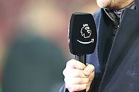 Football - 2019 / 2020 Premier League - Southampton vs. Norwich City<br /> <br /> Amazon Prime logo with the Premier League logo on the broadcasters microphone cover at St Mary's Stadium Southampton<br /> <br /> COLORSPORT/SHAUN BOGGUST